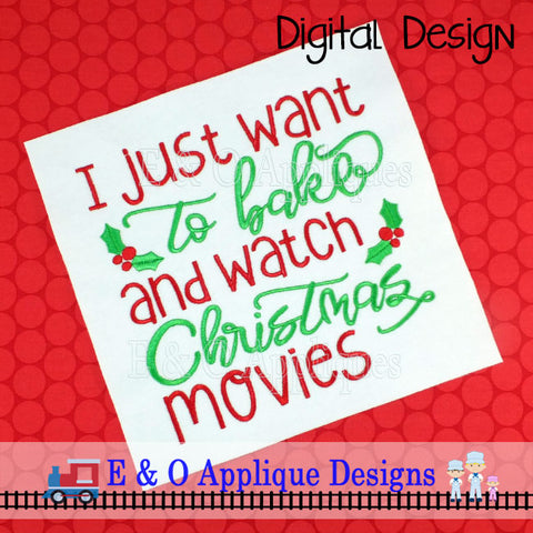 Bake and Watch Christmas Movies Embroidery Design
