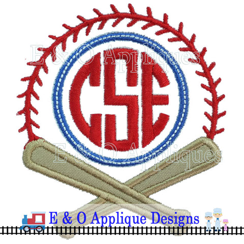 Baseball Monogram Digital Applique Design