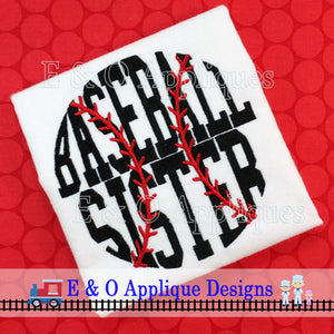 Baseball Sister Digital Embroidery Design