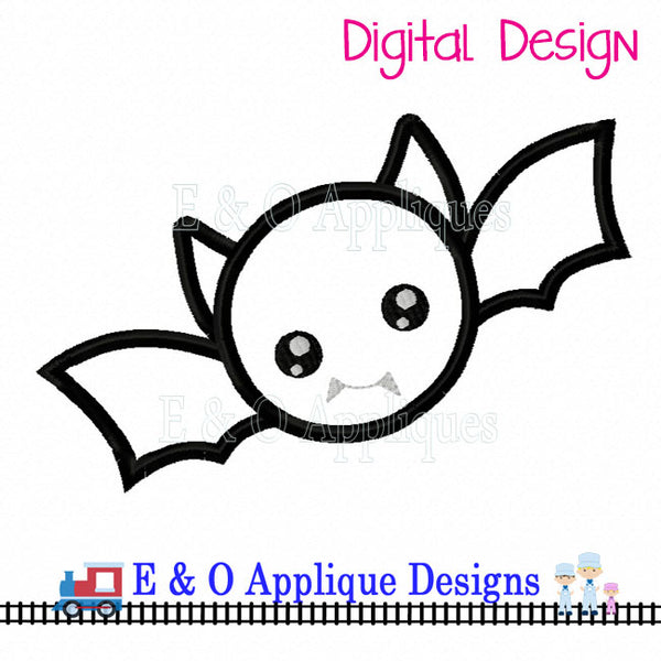 Bat Kawaii Applique Design