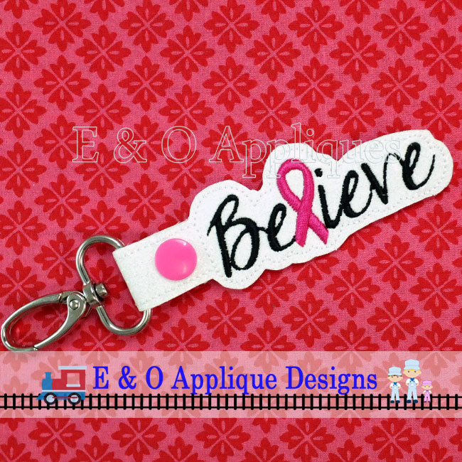 Believe Ribbon Snap Tab ITH Digital Embroidery Design