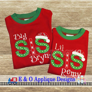 Big / Lil / Middle / Baby Sis Santa Hat Set