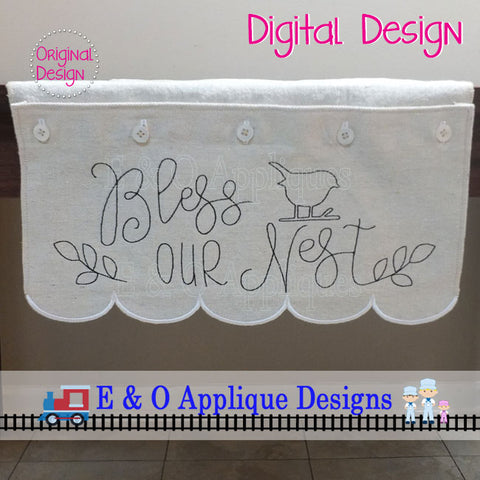 ITH Table Runner - Bless This Nest 200x 360 Hoop