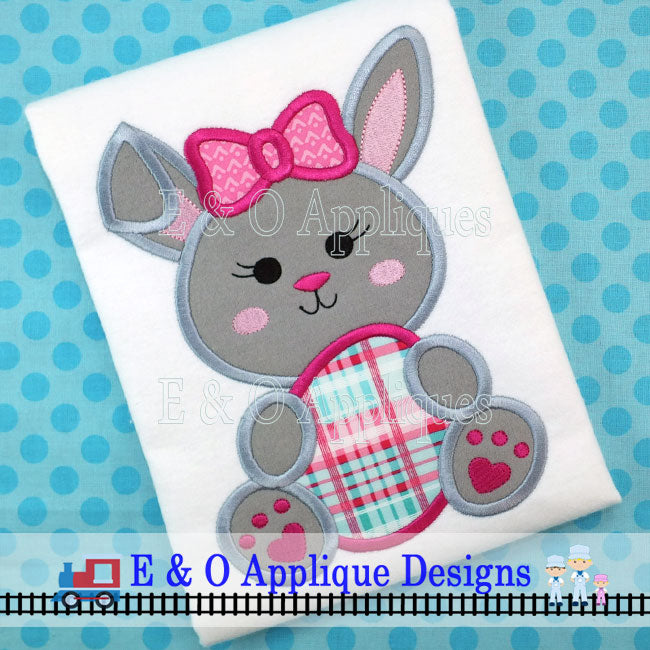 Bunny Egg Girl Digital Applique Design
