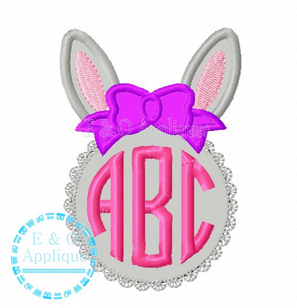 Bunny Lace Monogram Frame Applique Design