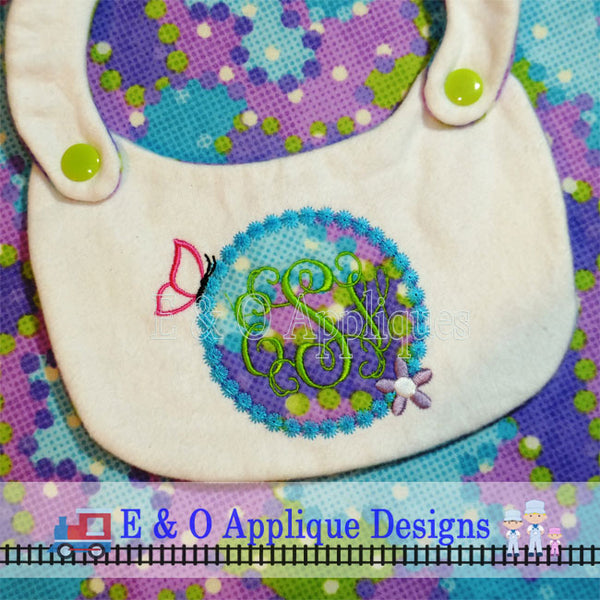 Butterfly Monogram Circle Applique Design