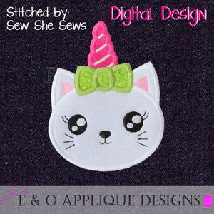 Cat Unicorn Applique Design