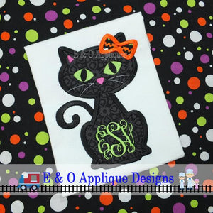 Black Cat Girl Digital Applique Design