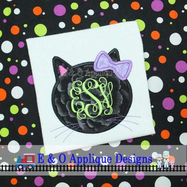 Black Cat Girl Monogram Frame Applique Design