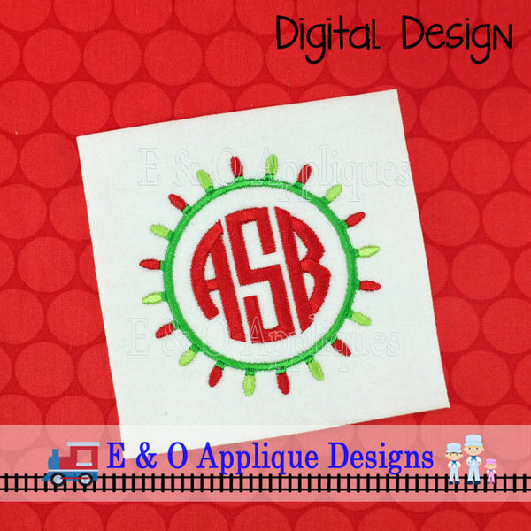 Christmas Lights Monogram Embroidery Frame