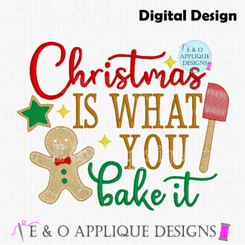 Christmas Kitchen Towel Embroidery Design