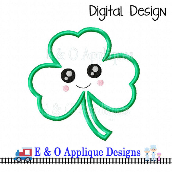 Clover Kawaii Applique Design