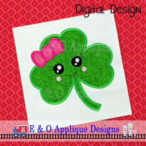 Clover Kawaii Girl Applique Design