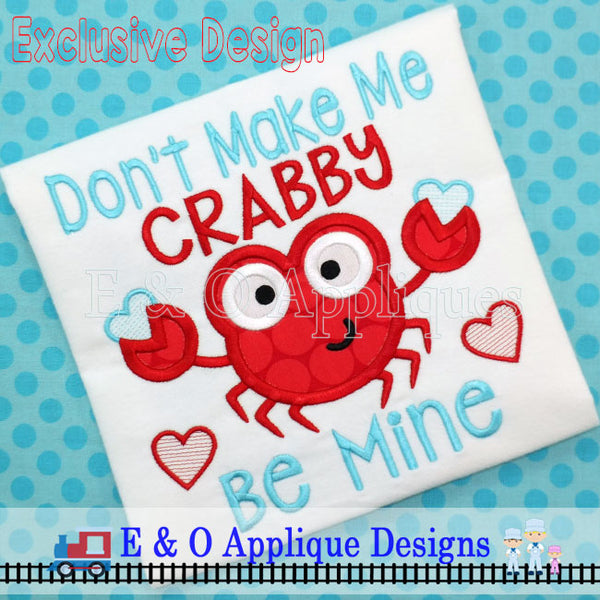 Don't Make Me Crabby Valentine Digital Applique Design