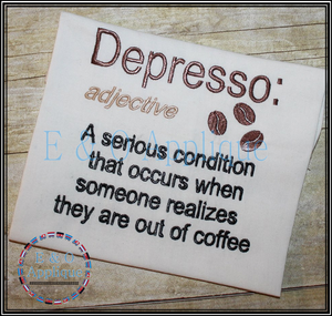 Depresso Embroidery Design