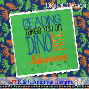 Dinosaur Book Saying Embroidery Design