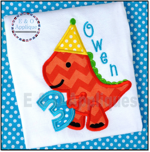 Dino Birthday 3 Applique Design