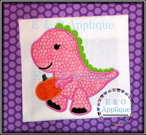 Dino Pumpkin Girl Applique