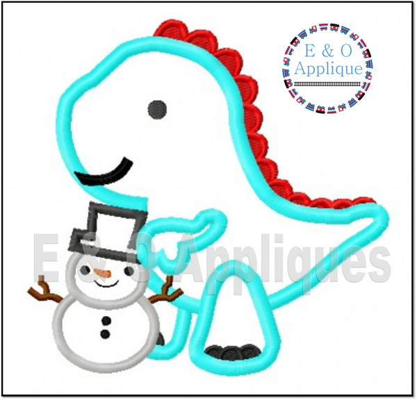 Dino Snowman Applique