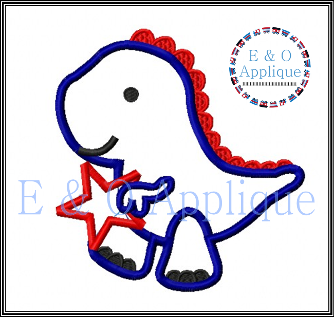Dino Star Applique Design