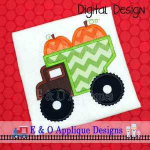 Dump Truck Pumpkin Applique Design