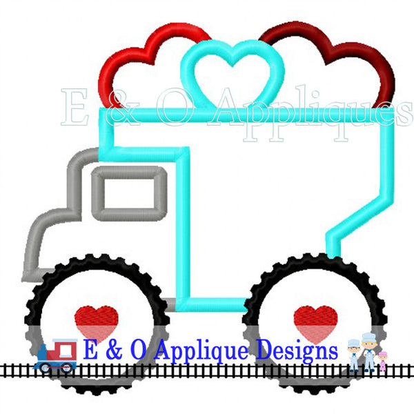 Dump Truck Hearts Digital Applique Design