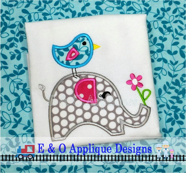 Elephant Bird Applique Design