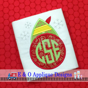 Elf Hat Monogram Frame Digital Applique Design