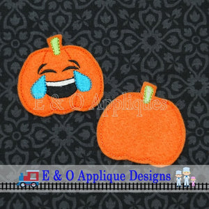 Emoji Laughing Tears Pumpkin Feltie In the Hoop Digital Embroidery Design