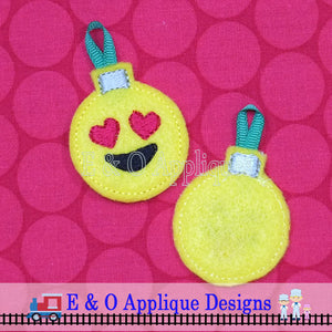 Emoji Heart Eyes Christmas Ornament Feltie In the Hoop Digital Embroidery Design