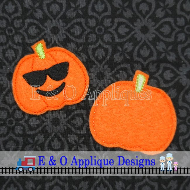 Emoji Sunglasses Pumpkin Feltie In the Hoop Digital Embroidery Design