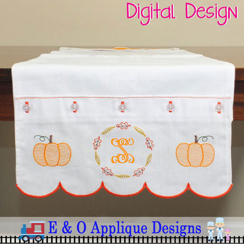 In The Hoop Table Runner - Pumpkin Monogram 200 x 360 Hoop