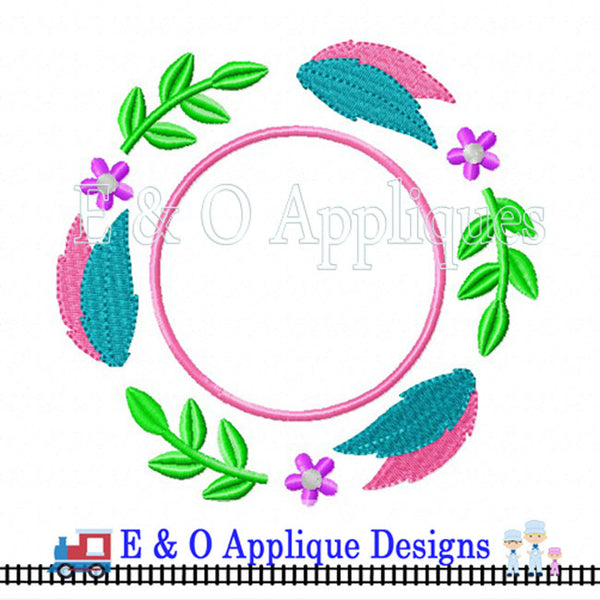 Feather Monogram Frame Digital Embroidery Design