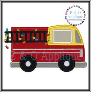 Holiday Firetruck Applique Design