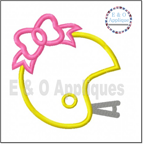 Football Helmet Bow Applique