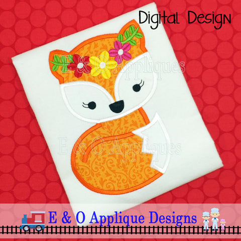 Fox Girl Flowers Applique Design