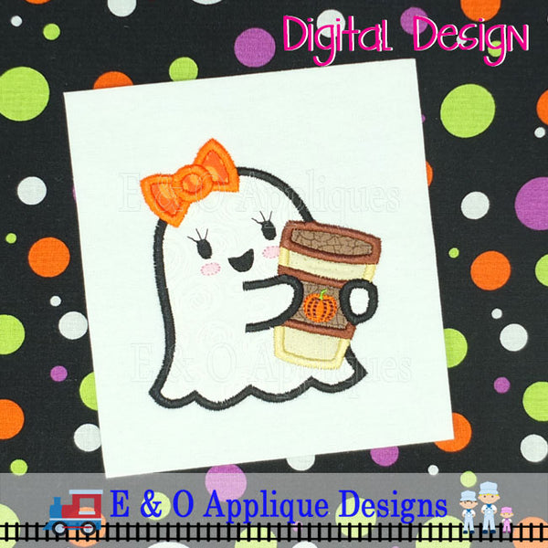 Ghost Girl Pumpkin Latte Applique Design