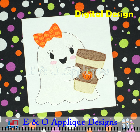 Ghost Girl Pumpkin Latte Bean Stitch Applique