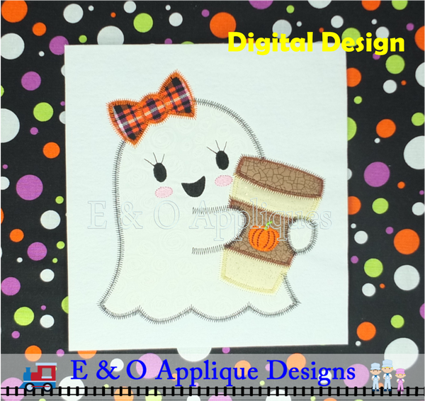 Ghost Girl Pumpkin Latte Zig Zag Applique