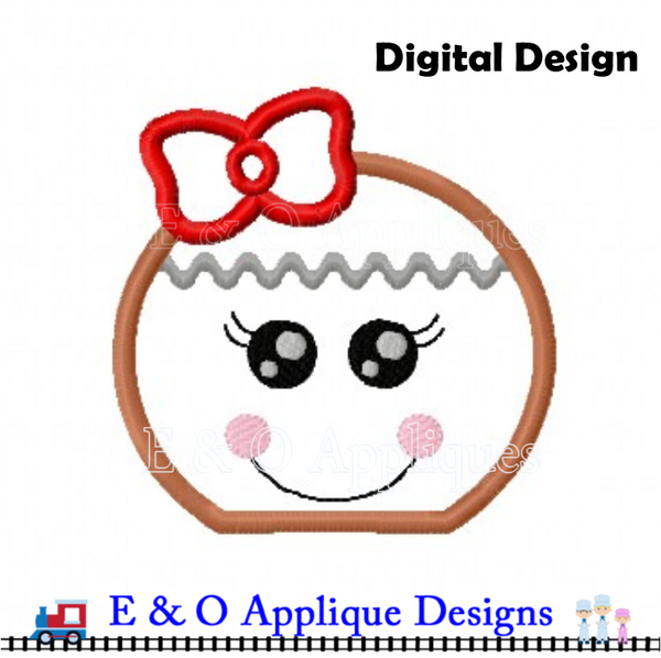 Gingerbread Girl Peeker Applique Design
