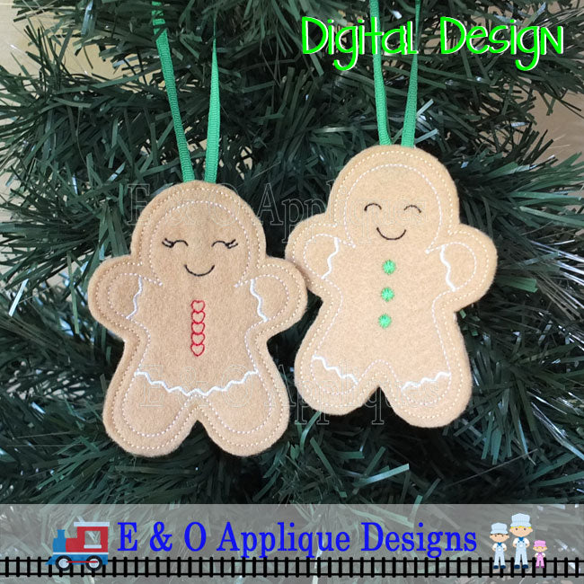 Gingerbread Boy and Girl ITH Ornament