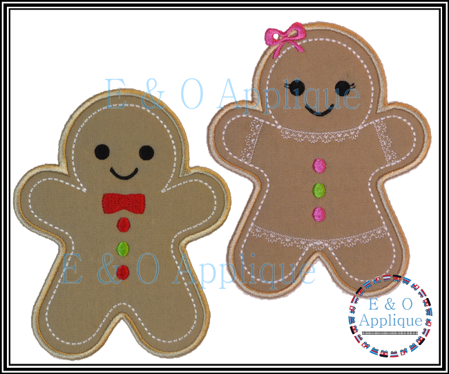 Gingerbread Boy & Girl Applique Design Set