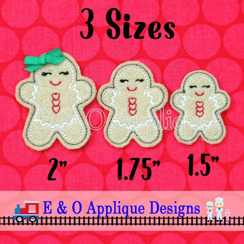 Gingerbread Girl Feltie In The Hoop Digital Embroidery Design