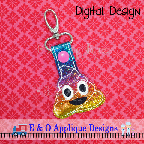Emoji Happy Poop Snap Tab Embroidery Design