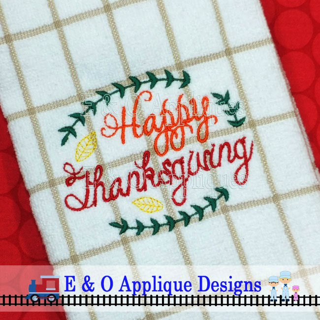 Happy Thanksgiving Digital Embroidery Design