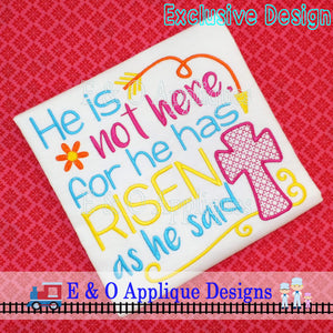 He Has Risen Embroidery Design