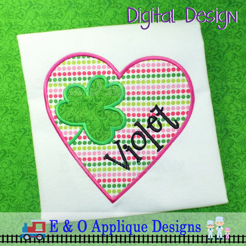 Heart Clover Applique Design
