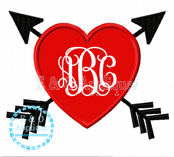 Heart Arrows Monogram Frame Embroidery Design