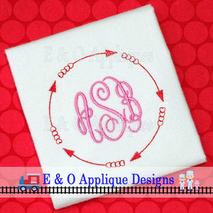 Hearts Arrow Redwork Frame Digital Embroidery Design