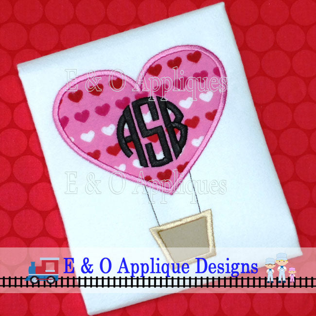 Heart Hot Air Balloon Applique Design
